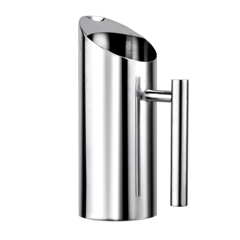 Stainless Steel Water Pitcher with Ice Guard,Straight Pot Frozen/Unboiled Water/Juice/Beer/Coffee Bottles Water Cooler for Bar/Home,1L