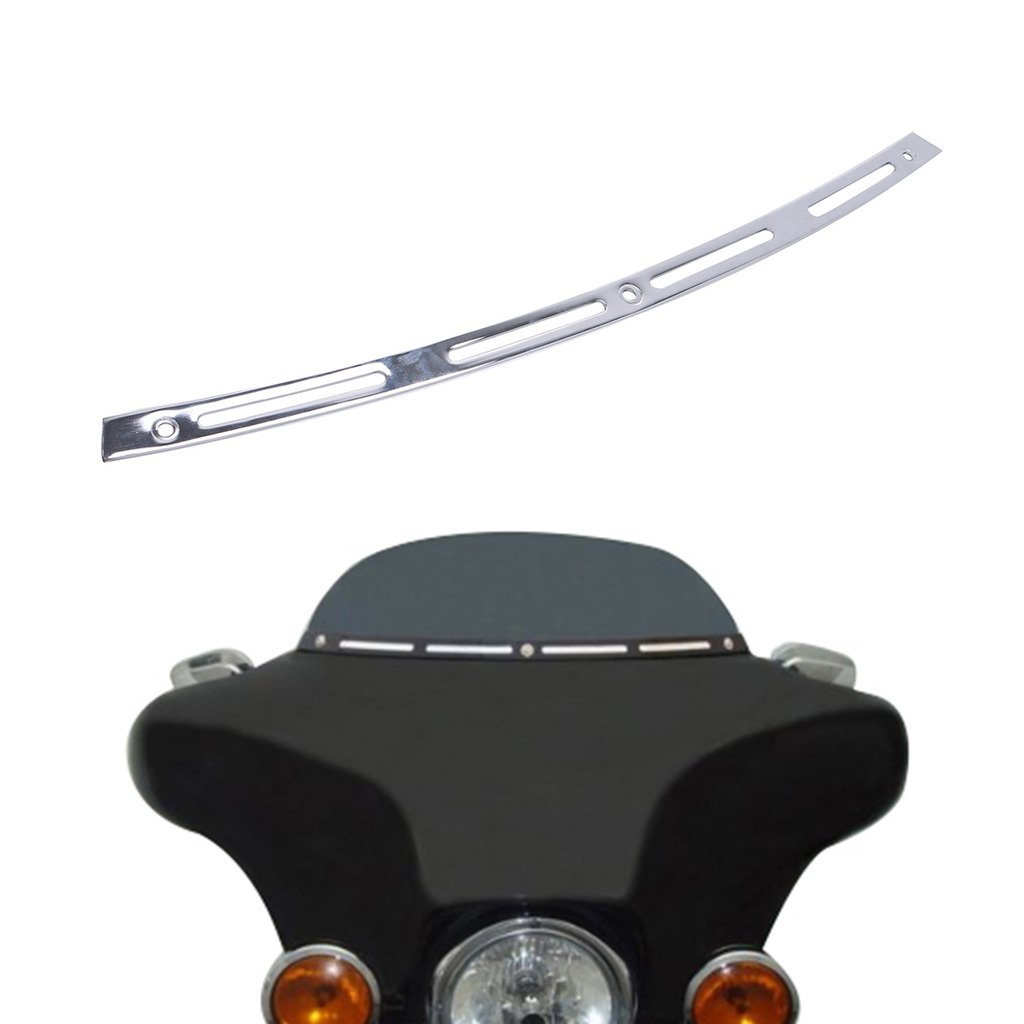 Kitty Party Metal 4 Slotted Windshield Trim For Harley Davidson TOURING BAGGER BATWING 96-13 Chrome