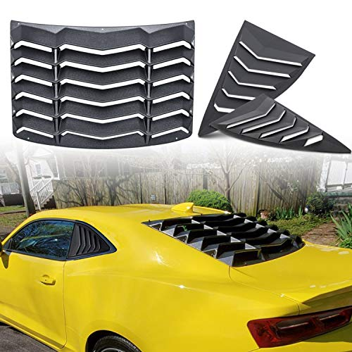 Camoo Rear and Side Window Louvers Sun Shade Windshield Cover ABS in Matte Black for Chevrolet Chevy Camaro 2010-2015
