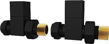 HB Essentials Straight Towel Radiator Valves Matte Black Round 15mm *Twin Pack*