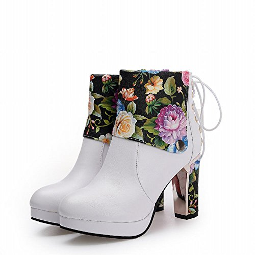 Carolbar Womens Floral Printed Lace Up Zip Platform High Heel Dress Boots White 1YCa5Cs