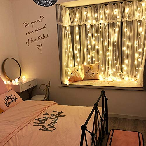 Curtain mild 300 LED Fairy String Light 8 Modes Control Decoration for Bedroom Window Wedding Party Home Garden Outdoor Indoor,IP65 Water Proof,USB Operated (9.8ft X 9.8ft, Warm White)