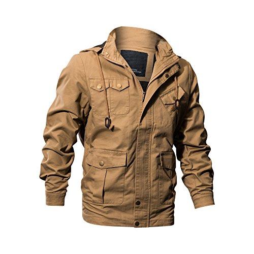 Buytop Men's Cotton Jacket Casual Military Windbreaker Jacket Cotton Trucker Outerwear(BT-Cotton Jacket-2601Khaki-L) (Bronze Mens Jacket)