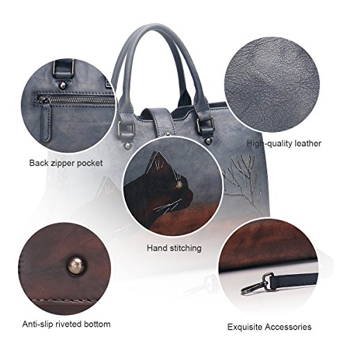 Leather Totes APHISON Satchels Handbags 8196gray Soft Shoulder Designer for Women Bags Ladies qFqn7atw
