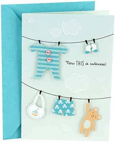 Hallmark Congratulations Card for New Baby Boy (Clothesline)