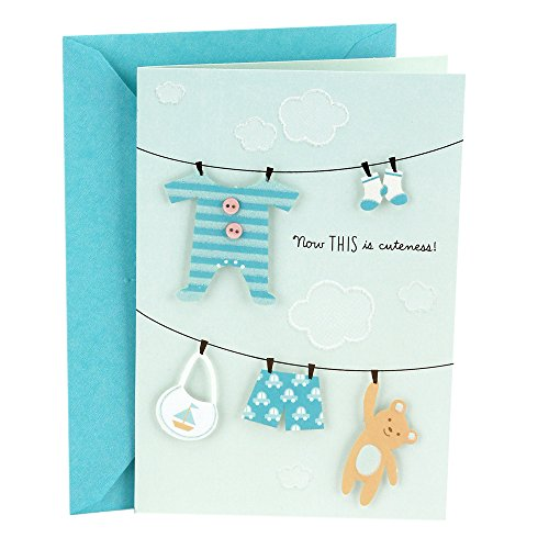 Hallmark Congratulations Greeting Card for New Baby Boy (Clothesline)