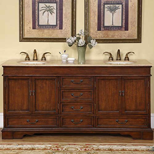 - Silkroad Exclusive Travertine Stone Top Double Sink Bathroom Vanity with Cabinet, 72-Inch
