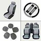 70 impala steering wheel - ECCPP Universal Car Seat Cover w/Headrest/Steering Wheel/Shoulder Pads - 100% Breathable Embossed Cloth Stretchy Durable for Most Cars Trucks Vans(Black/Gray)