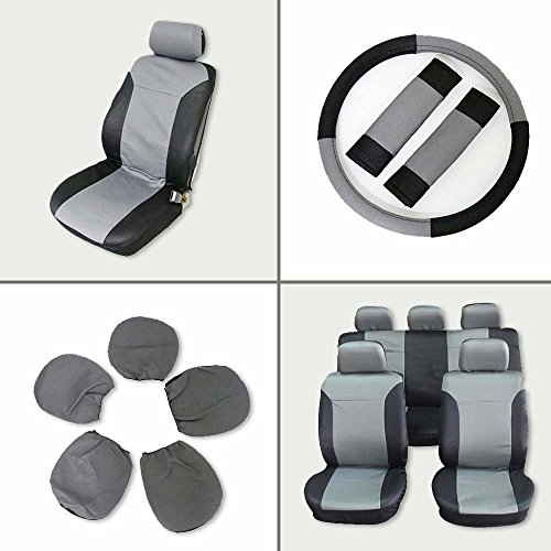 ECCPP Universal Car Seat Cover w/Headrest/Steering Wheel/Shoulder Pads - 100% Breathable Embossed Cloth Stretchy Durable for Most Cars Trucks Vans(Black/Gray) (Steering Toyota Corolla 1984)