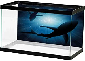 SLLART Fish Tank Wall Shark,Silhouette of The Fishes Swimming at Twilight Night Moon Mystic Magical Sea Scenery,Dark Blue Image Decor