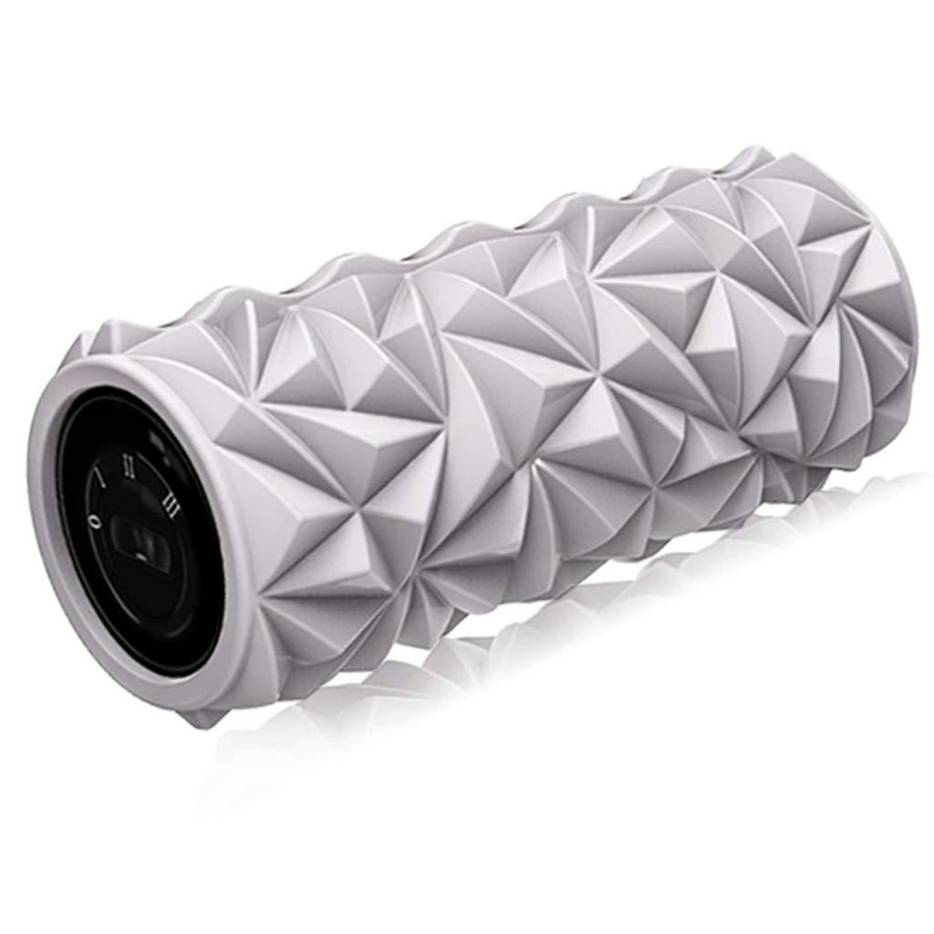 泡ローラー33センチダイヤモンド電気泡シャフト振動ローラー筋肉マッサージャー筋膜緩和振動ヨガ列 (色 : 黒) B07MP7G9Z7 Gray Gray