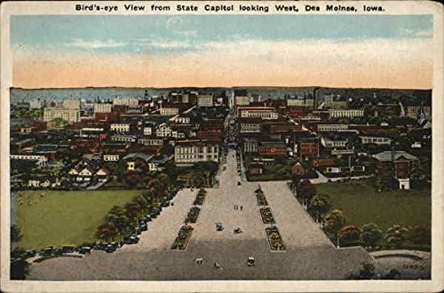 Bird's-eye View From State Capitol Looking West Des Moines, Iowa Original Vintage - Des Stores Moines West