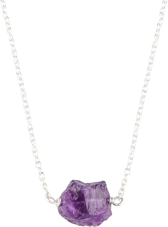 OOAK by Virat Collar de piedras preciosas de amatista púrpura natural, joyas delicadas, cadena de cobre plateado de 18 pulgadas, piedra de nacimiento de febrero,