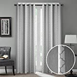 Dreaming Casa Room Darkening Extra Wide Window Curtains Grommet Top Window Treatment Moroccan Print Blackout Curtain for Bedroom Living Room Smoky Grey 63 Inches Long 100'' W x 63'' L (2 Panels)
