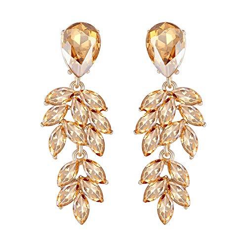 mecresh Leaf Shape Marquise Crystal Bridal Chandelier Dangle Earrings for Women Wedding in Champagne ()