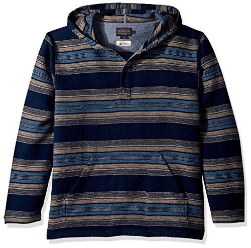 Pendleton Men's Serape Stripe Popover Hoody, Navy Stripe, XL by Pendleton (Image #1)