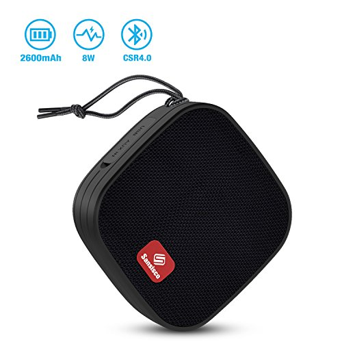Bluetooth Speaker, Sansisco 8W Waterproof Loud Portable Mini Speaker with Suction Cup, CSR4.0 Wireless Splashproof Shower Speaker, 12-hour Play Time, HD Sound & Enhanced Bass, Handsfree Call
