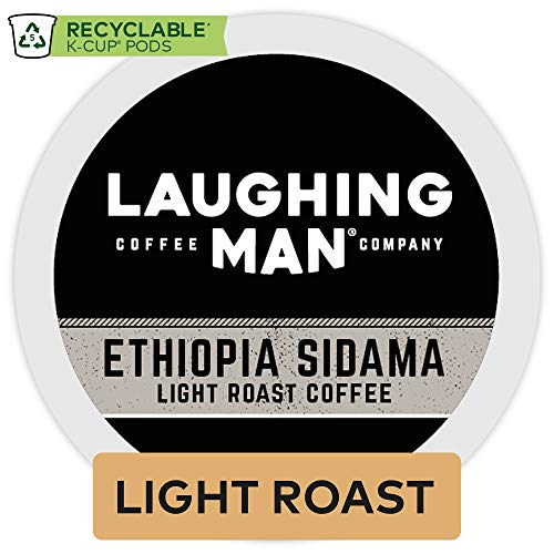 Laughing Man Ethiopa Sidama, Single Serve Coffee K-Cup Pod, Light Roast, 16