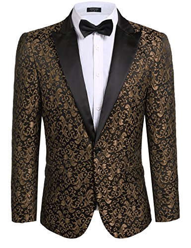 COOFANDY Men's Floral Party Dress Suit Stylish Dinner Jacket Wedding Blazer One Button Tuxdeo,Coffee,US S(Chest 42.9)