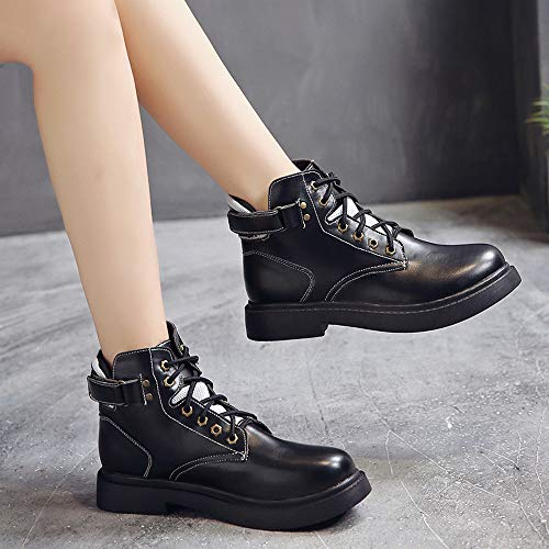 Mesh Top Sneakers Martin Flat Solid Velcro Fashion Up Flat Black Stitching Women's Low Cool Boots New Color Shoes Lace FALAIDUO Breathable n4AYqpx17w