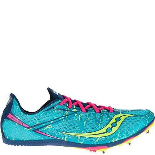Saucony Women's Ballista Spike Shoe, Blue/Pink, 10 M US