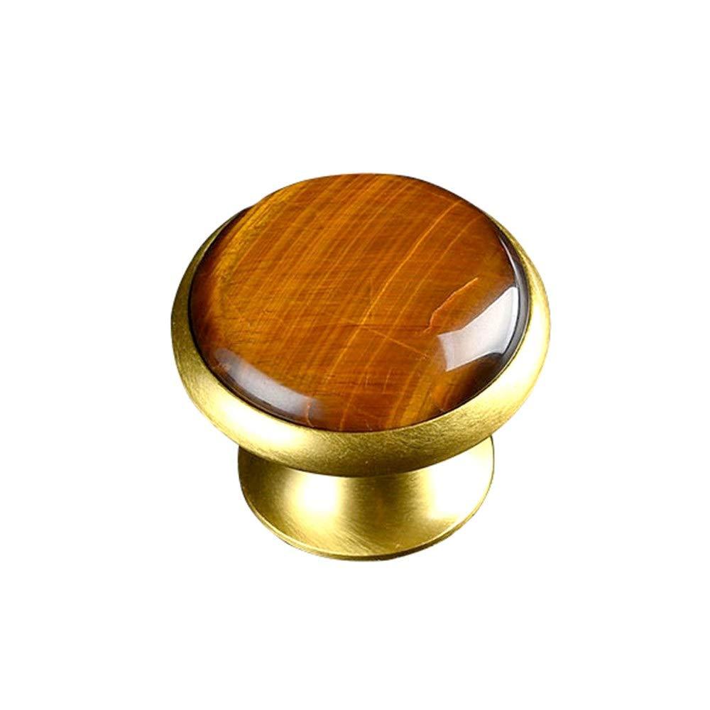MDYYD Rustic Barn Door Pull Handle Pack of 2Pcs Round Crystal Agate-Like Quartz/Tiger's Eye Inlaid Golden Solid Brass Mushroom Knobs Handle 5MM Diameter Gate Handles Door Hardware