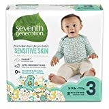 Seventh Generation Free and Clear Sensitive Skin Size 3 Baby Diapers with Animal Prints 124 Count