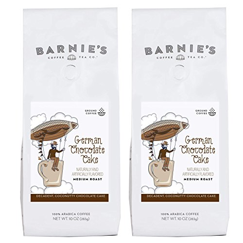 Barnie's German Chocolate Cake Ground Coffee | Decadent, Coconutty Chocolate Cake Flavored Coffee | Sugar Free, Nut Free, Gluten Free, Fat Free | Medium Roasted Arabica Coffee Beans | 2-Pack