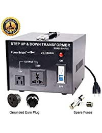 PowerBright - Transformador de voltaje (100 W, 110 V, 220 V), 3000 v, Negro