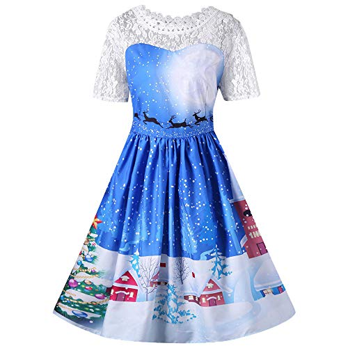 Christmas Blue Lace Top Merry Wedding corte maniche Soiree lungo Angelof Guipure Inverno Cucitura Abito donna Chic 5HqwA