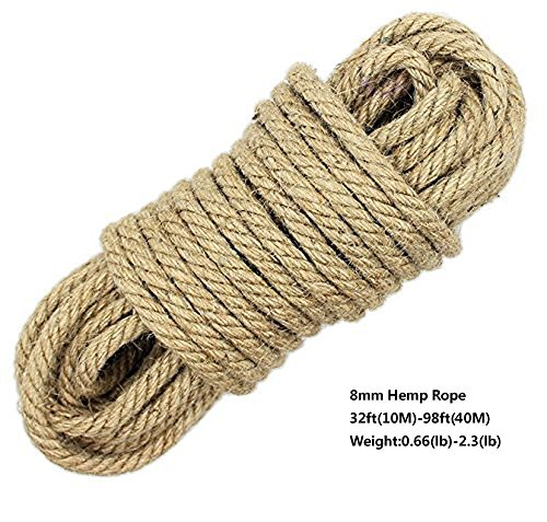 100% Natural Hemp Ropes LUOOV 6mm Thickness and Strong Jute Rope,Multi Purpose Utility Sisal Rop,10m(32ft) 40m(128ft) (40m(128ft))