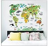 QOJA kids room home decor great colorful world map diy removable