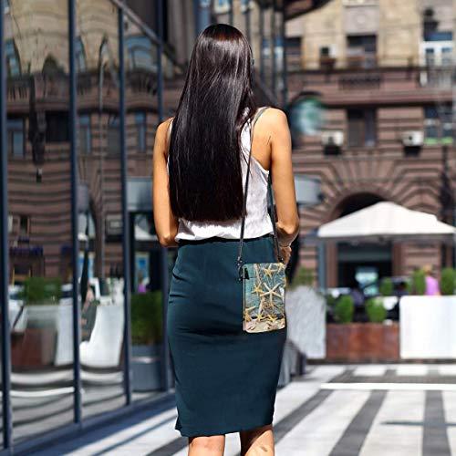 HYJUK Mobiltelefon crossbody väska skal mönster kvinnor PU-läder mode handväska med justerbar rem
