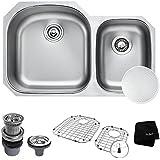 KRAUS Outlast MicroShield Scratch-Resist Stainless Steel Undermount 60/40 Double Bowl Sink, 32  16 Gauge, Premier...