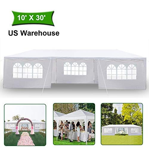 (MTFY 10x30'ft Canopy Tent - Portable Waterproof UV Protection Instant Tent Shelter Outdoor for Wedding/Yard/Patio/Camping/Party/Backyard/Garden with Removable Sidewalls)