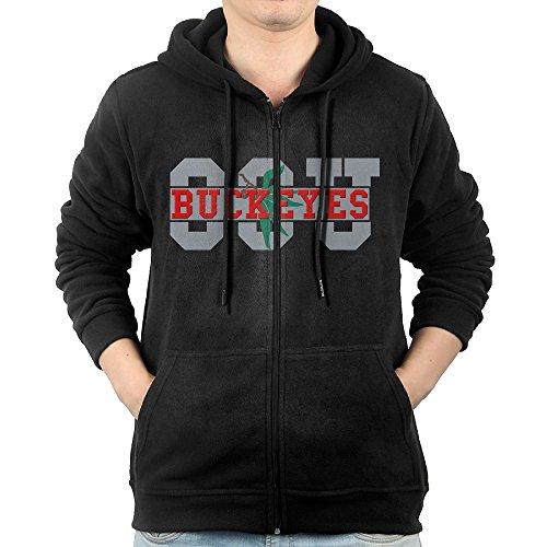 JLJK Men's Ohio State University Zip-Up Hoodie Jackets Black Size XXL