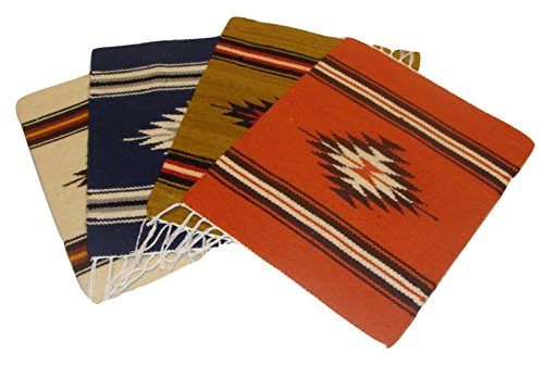 3140 Four Set Wool Hand Woven Mat 10 x 12 Chimayo Place Mat Hand Made Fair Trade Southwest Assortment