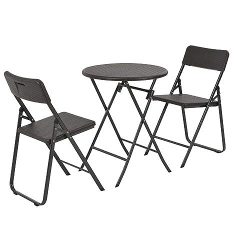 Tidyard- Estructuras de Acero marrón,2 sillas Plegables ...