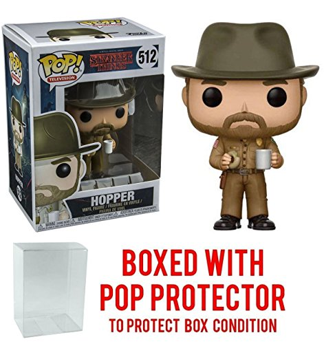 Stranger Things Hopper with Donut Pop! Vinyl Figure and (Bundled with Pop BOX PROTECTOR - And Steves Jim