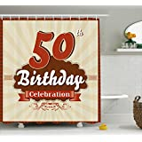 50th Birthday Decorations Shower Curtain by Ambesonne, Retro Old Fashion Celebration Theme Stripes and Dots, Fabric Bathroom Decor Set with Hooks, 75 Inches Long, Scarlet Brown Eggshell