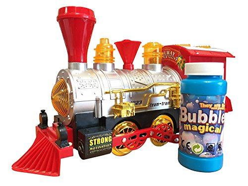 Call Us Toys@ The Best Steam Train Locomotive Engine Car Bubble Blowing Bump & Go Train For Kids Out Door/In Door Playset