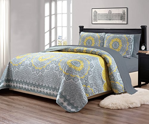 Mk Collection 7pc Queen Size Bedspread Quilt Over Size 106