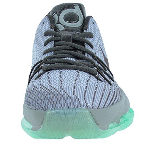 Nike Youth KD 8 Basketballschuh Nacht Silber / getrommelt grau / grün Glow / Deep Zinn