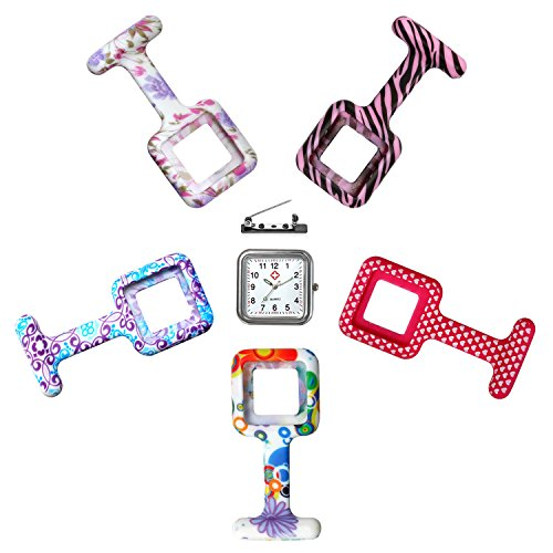 (Women Girls Nurse Watch Clip-on Fob Brooch Lapel Hanging Square Silicone Pocket Watch with 5 Different Replacement Covers)