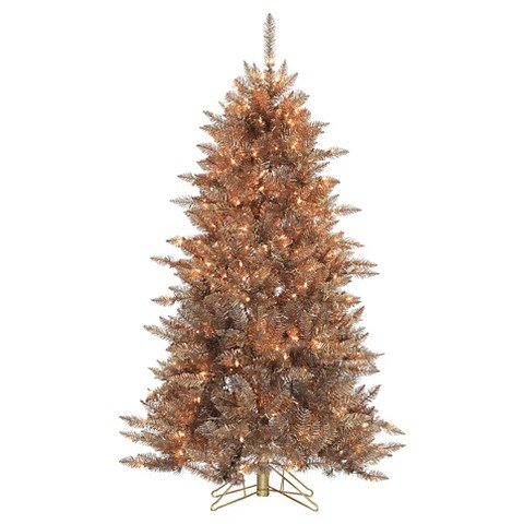 5 Ft. Pre-Lit Layered Copper & Silver Frasier Fir Christmas Tree- Clear Lights