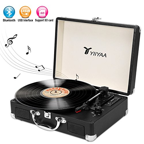 YIIYAA Vinyl Record Turntable Victrola Vintage 3-speed Belt Driven Bluetooth Portable Suitcase with Built-in Stereo Speaker, USB & Headphone Jack, Vinyl-to-MP3 Recording & AUX Input – Black