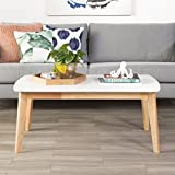 WE Furniture Retro Modern Coffee Table – White/Natural For Sale