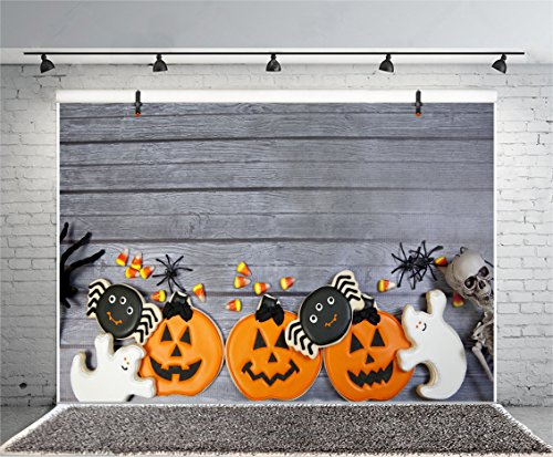 Leyiyi 5x3ft Photography Backdrop Happy Halloween Background Cartoon Gingerbread Scary Costume Night Pumpkin Lamp Spider Cookie Ghost Corn Skull Vintage Wooden Baord Photo Portrait Vinyl Studio Prop]()