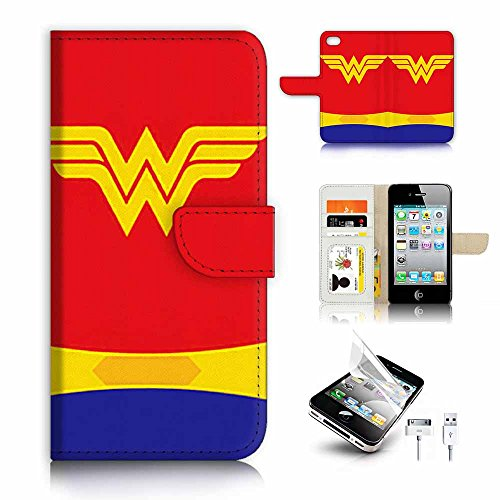 ( For iPhone 4 / 4S ) Flip Wallet Case Cover & Screen Protector & Charging Cable Bundle! A9372 Wonder Woman