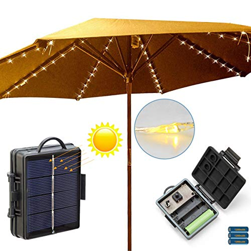 Patio Umbrella Lights String Solar or Battery Powered, 8 Light Modes, Auto On/Off, 8 Branches 104 LEDs Parasol Lights, Garden Fairy Lights String Outdoor Waterproof Warm White(Cable Ties Included)